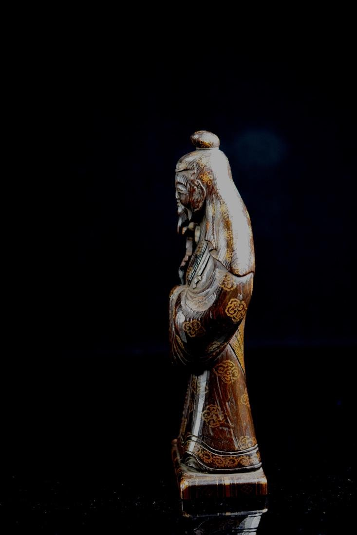Japanese jiche Wood Priest with Gilt Lacquer Decoration - 5