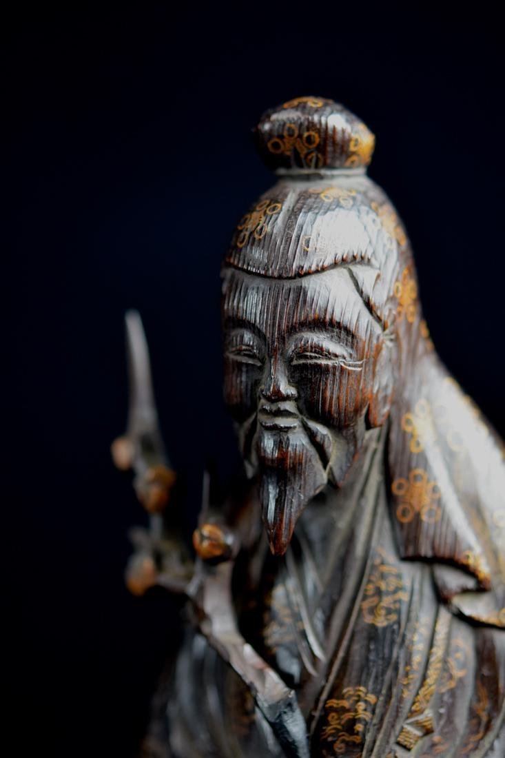 Japanese jiche Wood Priest with Gilt Lacquer Decoration - 6