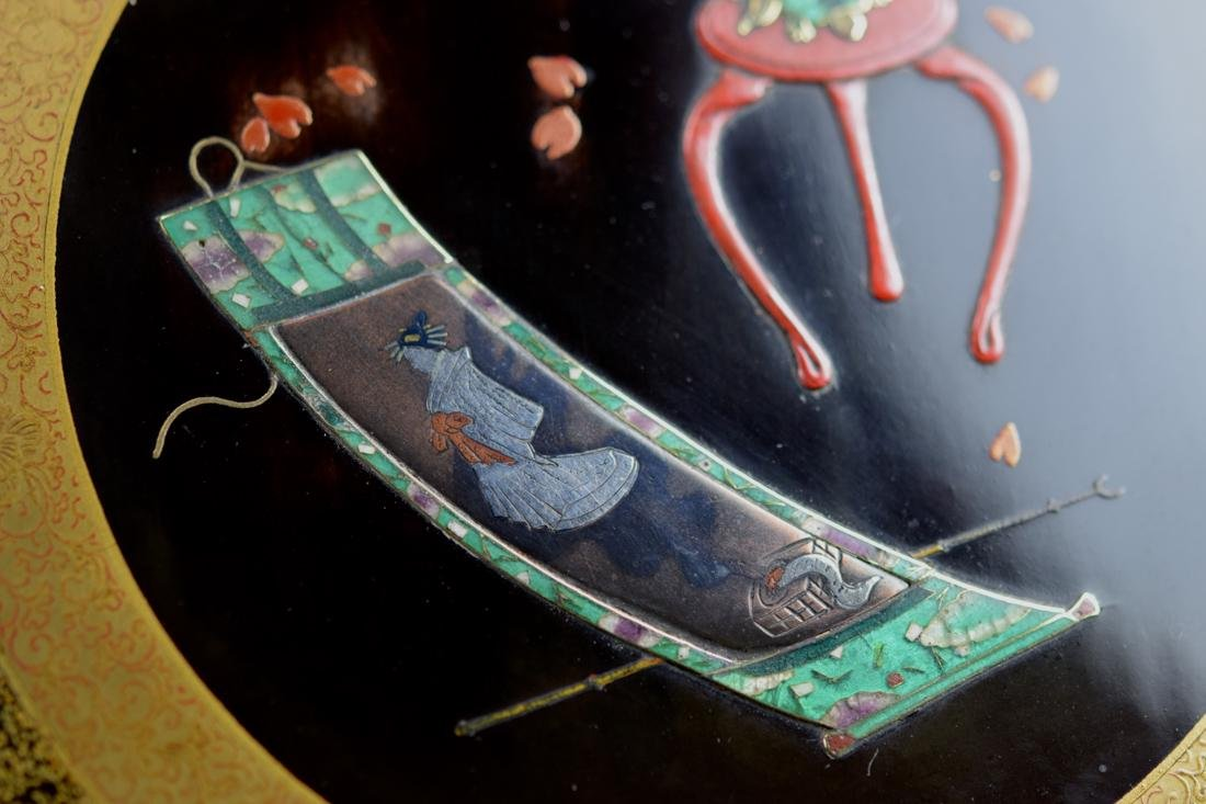 Japanese Lacquer Writing Box with Cloisonne Enamle - 4
