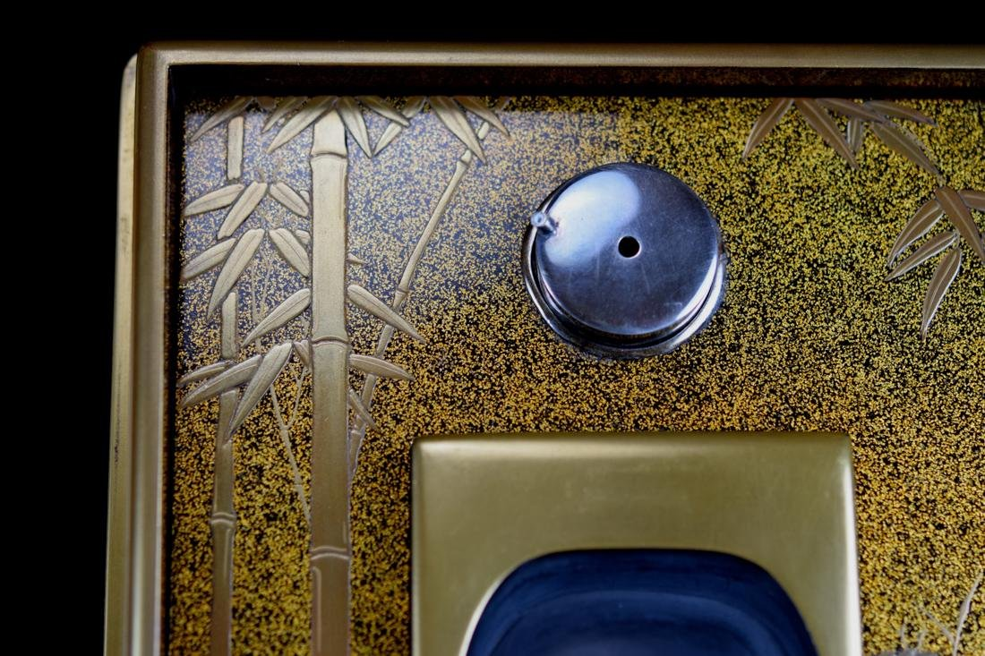 Japanese Lacquer Writing Box with Cloisonne Enamle - 7