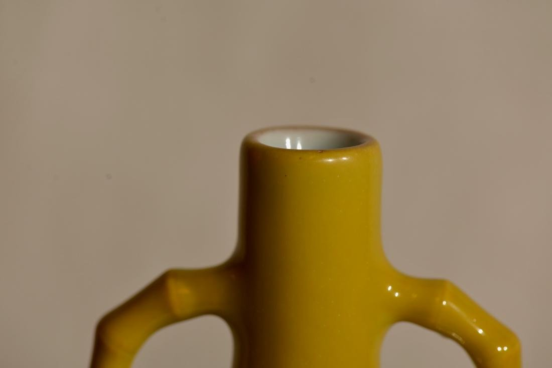 Chinese Yellow Monnflask Porcelain Vase - 3