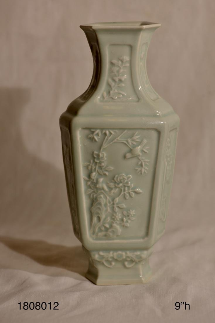 Chinese Celadon Hexagonal Vase with Low Relief