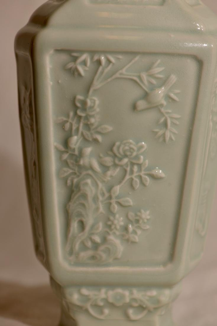 Chinese Celadon Hexagonal Vase with Low Relief - 2