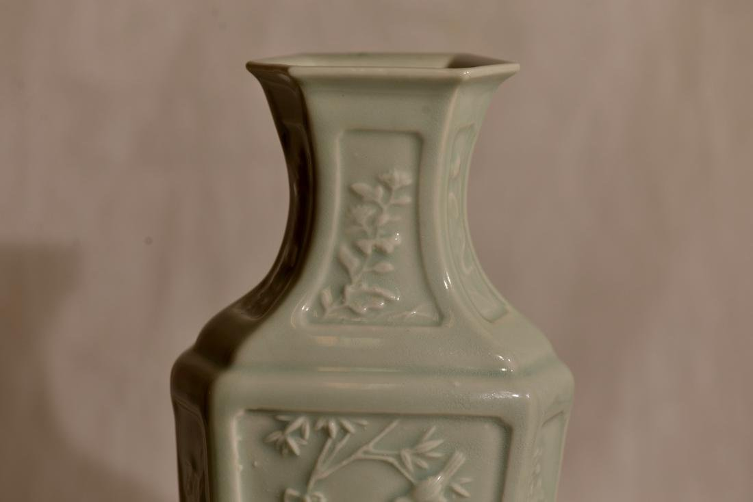 Chinese Celadon Hexagonal Vase with Low Relief - 3