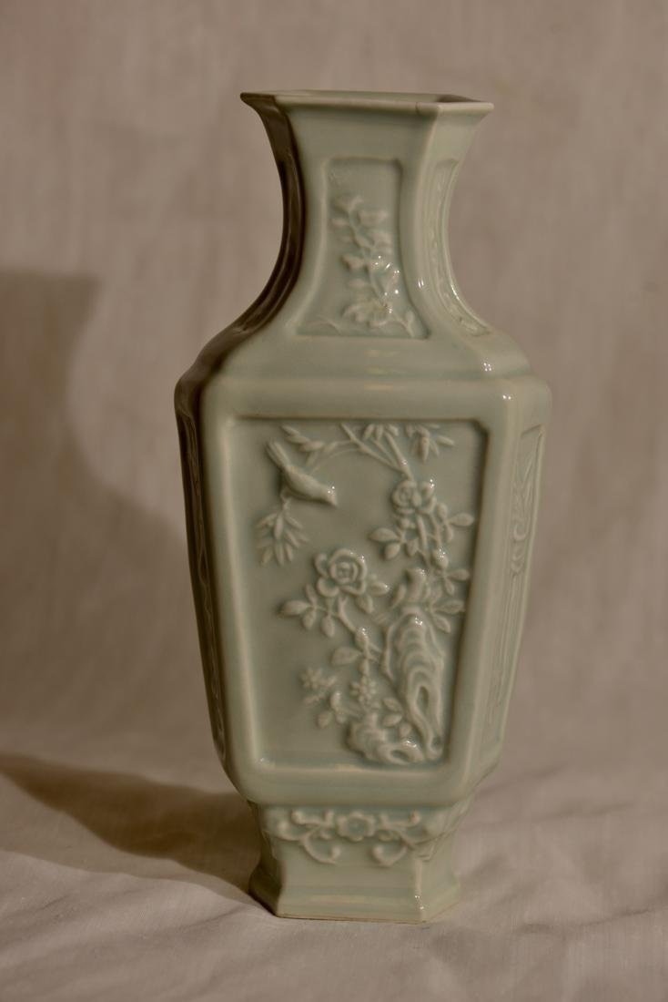 Chinese Celadon Hexagonal Vase with Low Relief - 5