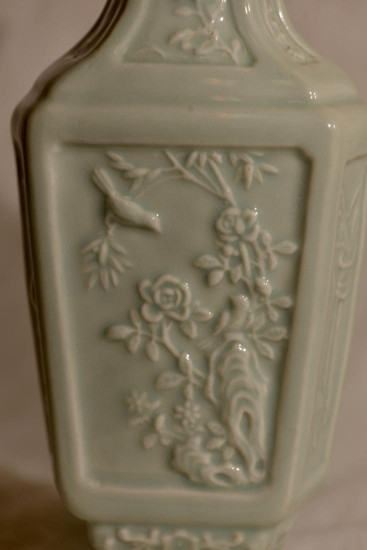 Chinese Celadon Hexagonal Vase with Low Relief - 6