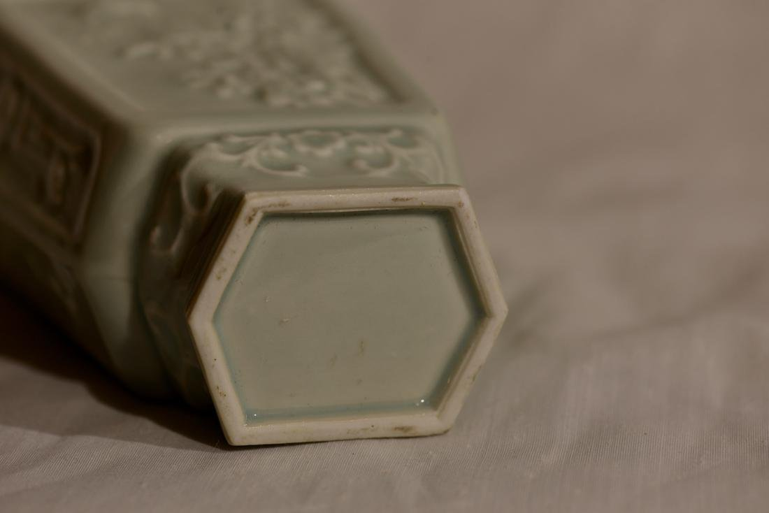 Chinese Celadon Hexagonal Vase with Low Relief - 7
