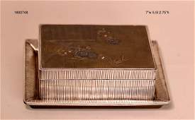 Japanese Mixed Metal Box with Tray  Sterling Silver