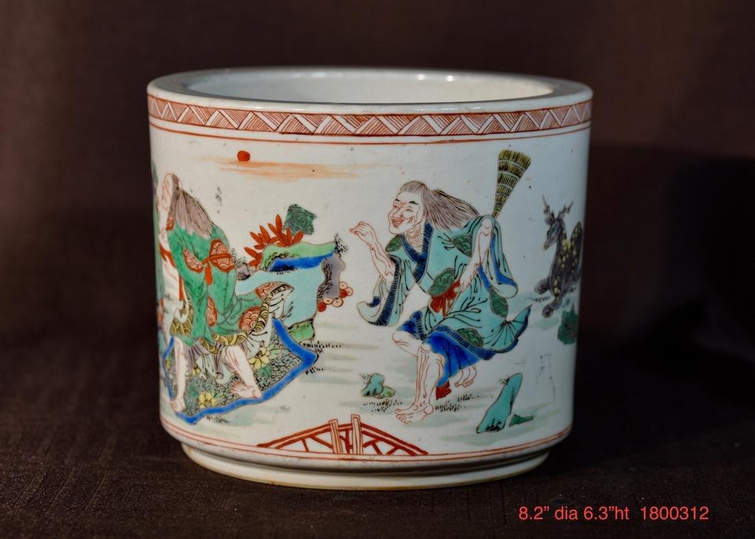 Chinese Famille Verte Porcelain Brushpot