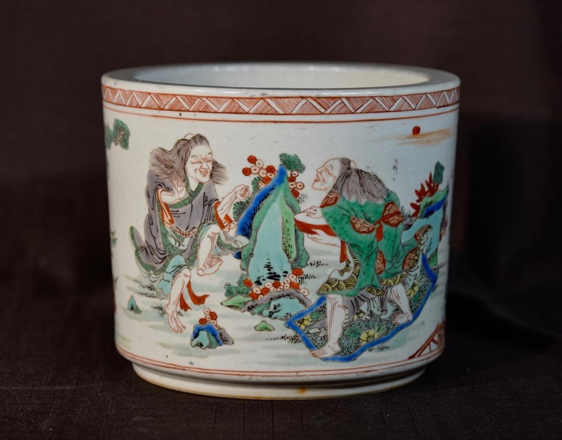 Chinese Famille Verte Porcelain Brushpot - 3