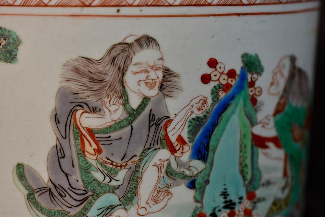 Chinese Famille Verte Porcelain Brushpot - 4