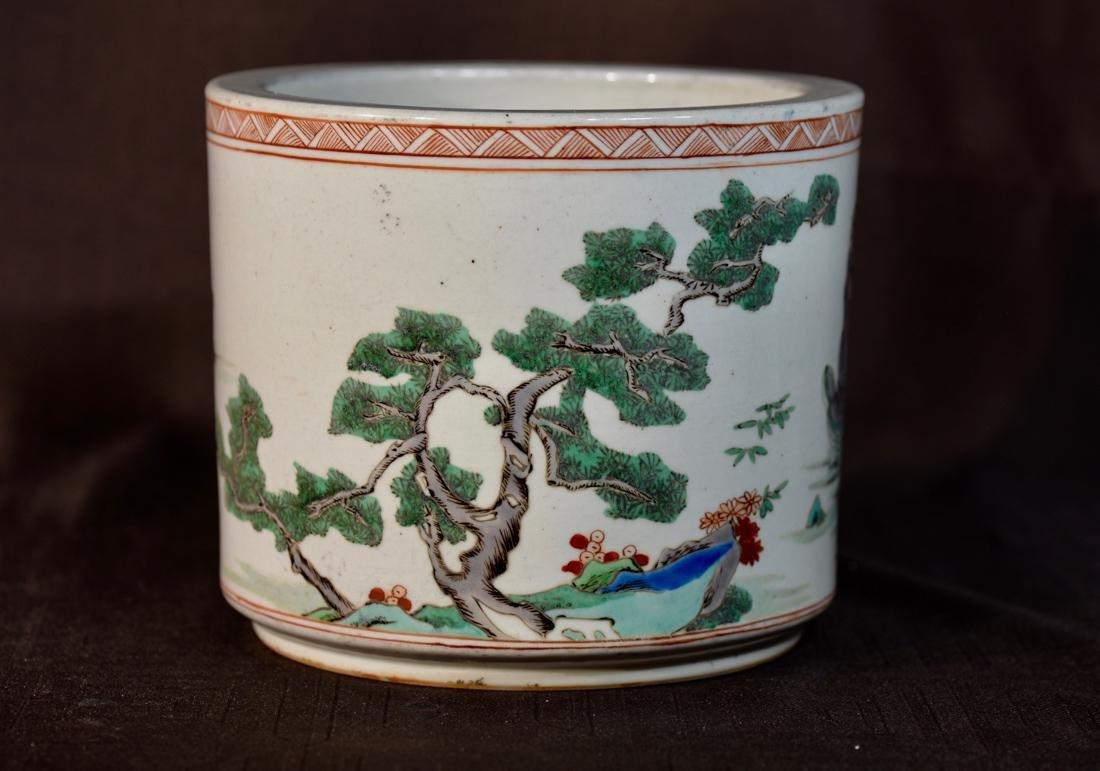 Chinese Famille Verte Porcelain Brushpot - 5