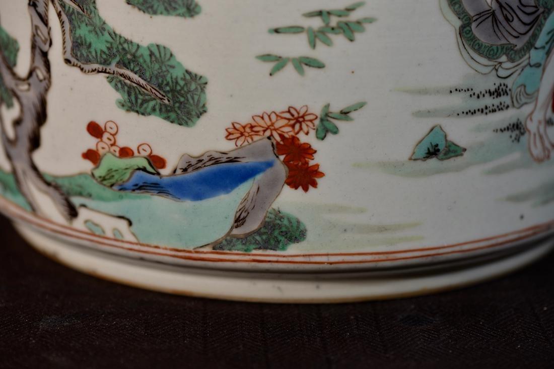 Chinese Famille Verte Porcelain Brushpot - 6