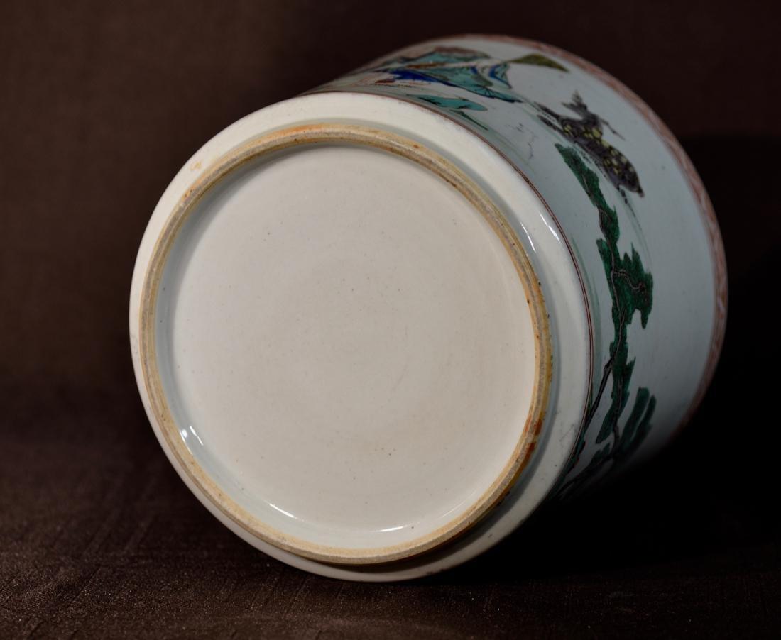Chinese Famille Verte Porcelain Brushpot - 7