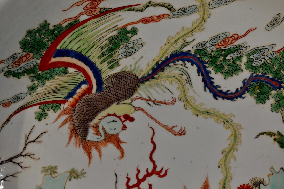 Chinese Famille Verte Porcelain Charger - Kirin Pheonix - 2