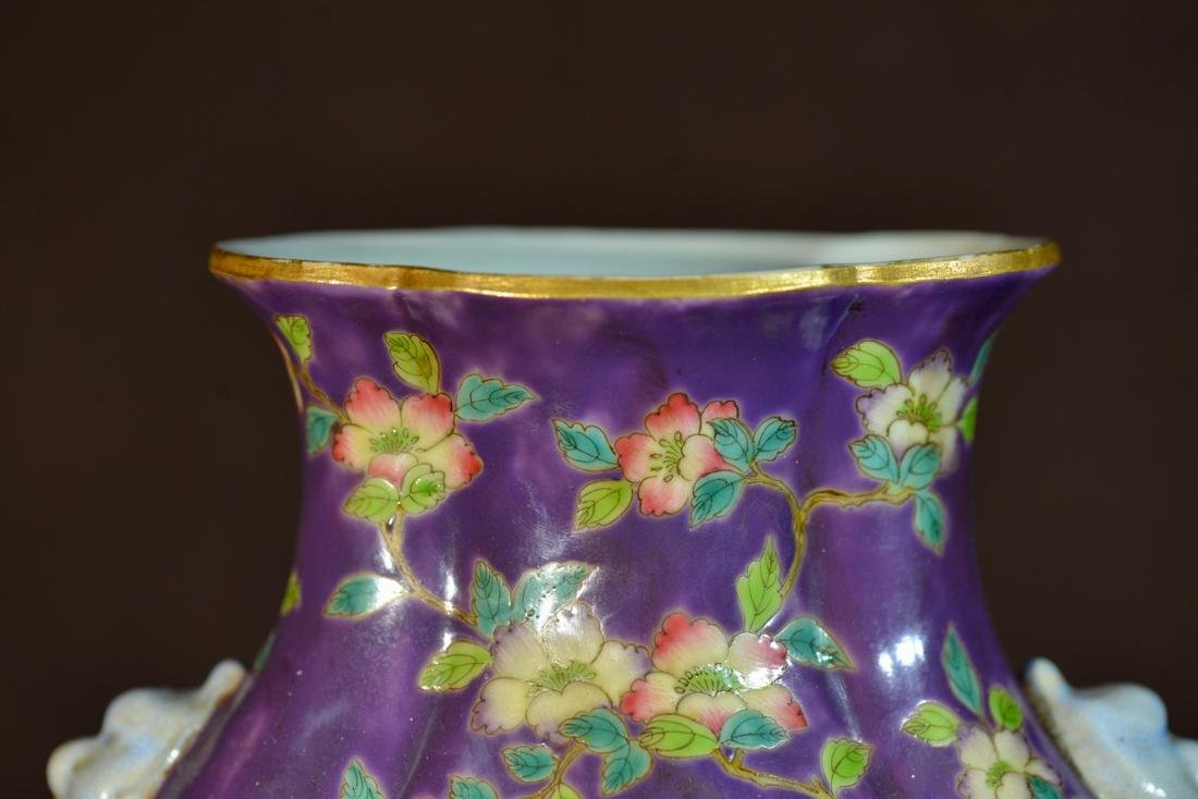 Chinese Purple Porcelain Vase with Floral Decoration - 3