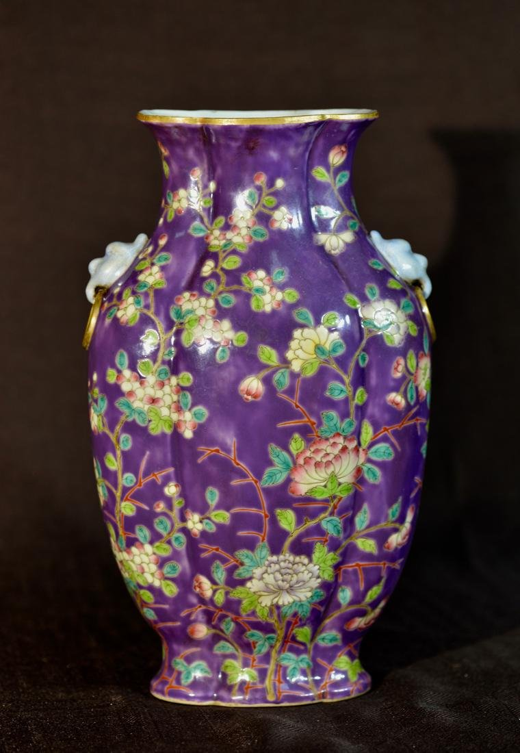 Chinese Purple Porcelain Vase with Floral Decoration - 6