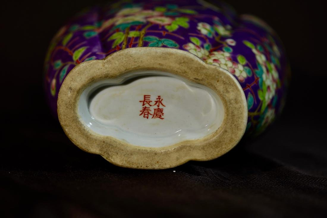 Chinese Purple Porcelain Vase with Floral Decoration - 8