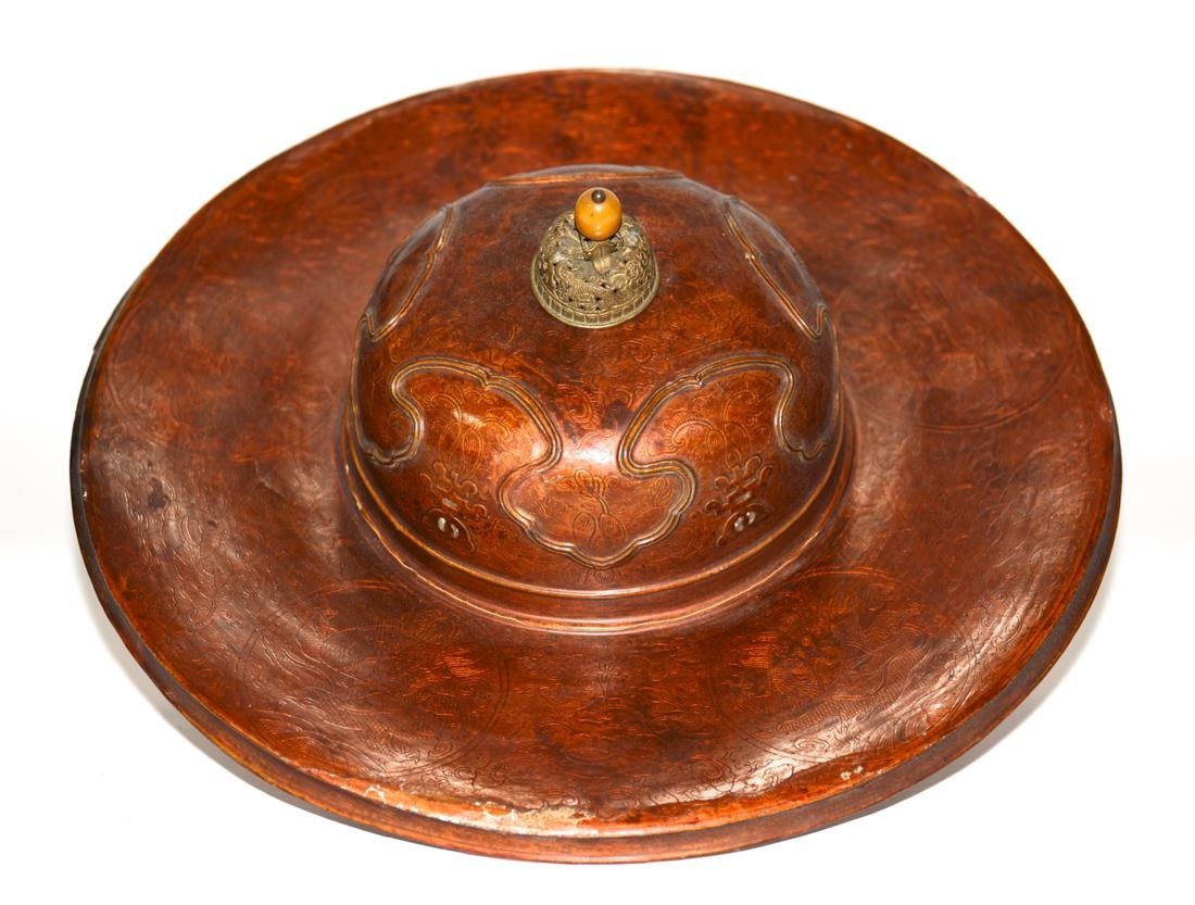 Unusual Chinese Imperial Kangxi Lacquer Hat
