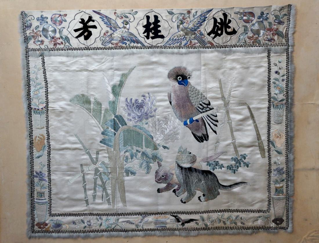 Chinese Embroidery of Owl and Cats Scene