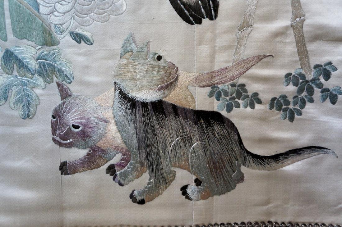 Chinese Embroidery of Owl and Cats Scene - 3