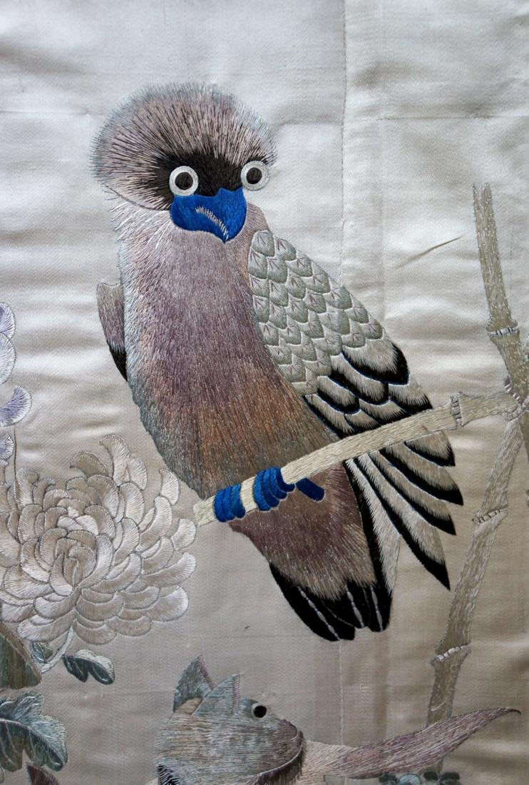 Chinese Embroidery of Owl and Cats Scene - 4
