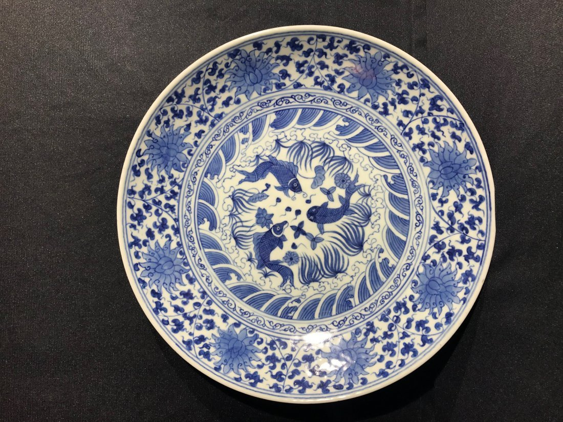 Chinese blue white porcelain charger with fish