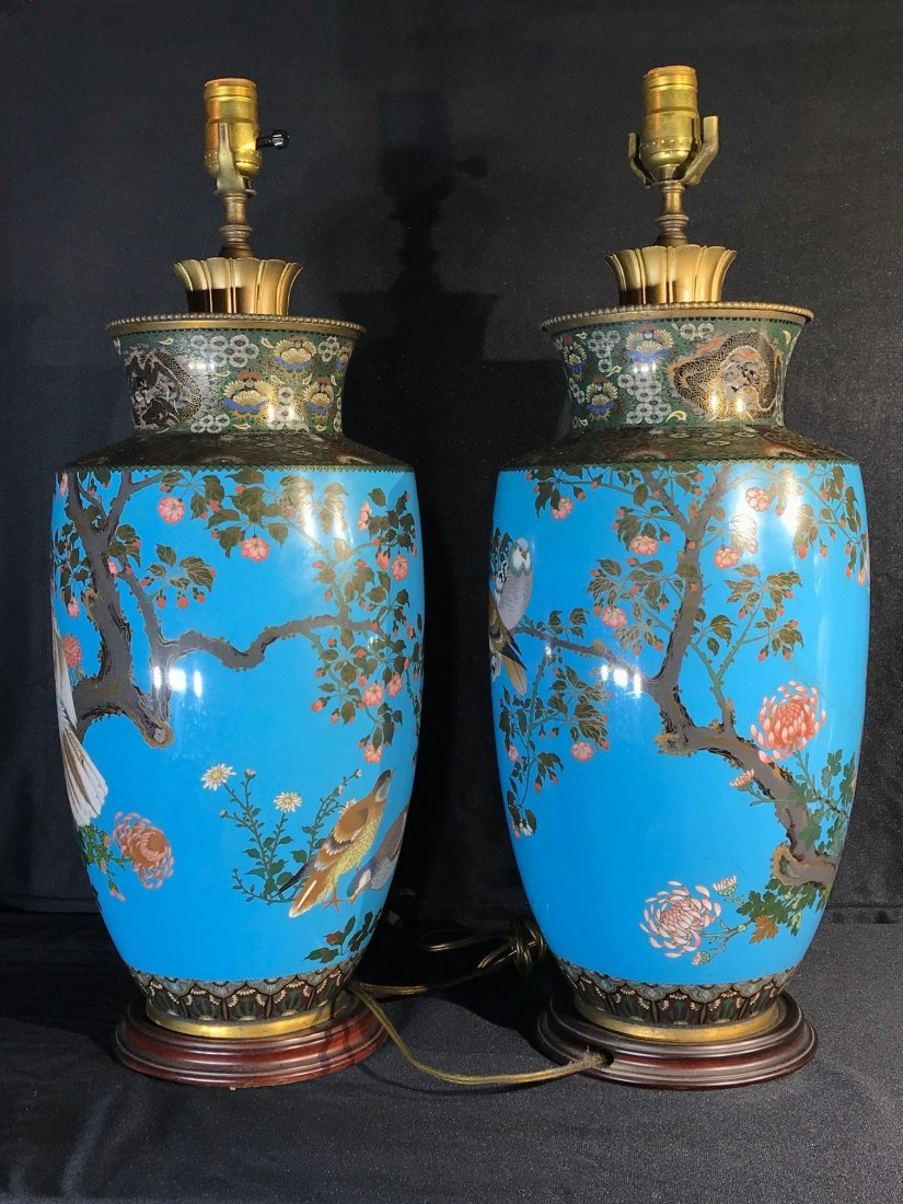 Pair Japanese cloisonne vase lamp