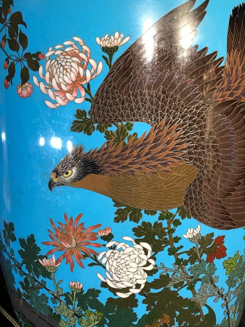 Pair Japanese cloisonne vase lamp - 3