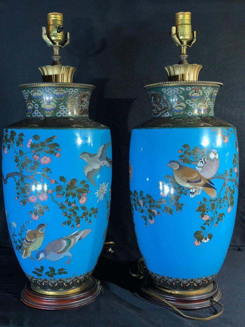 Pair Japanese cloisonne vase lamp - 8