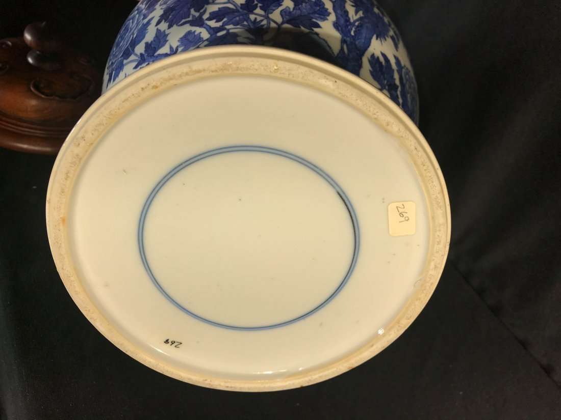 Chinese blue white porcelain jar with wood cover - 6