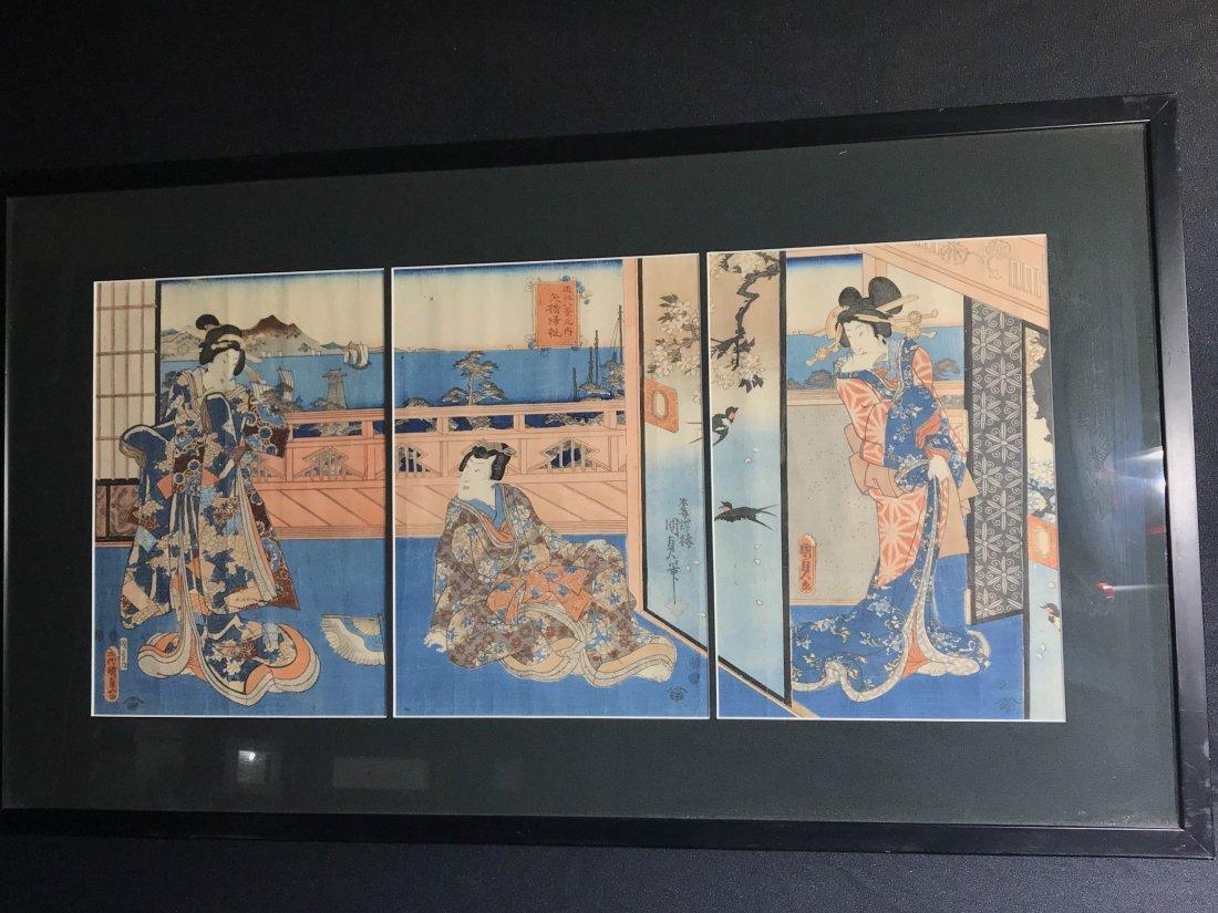 Japanese wood block print group