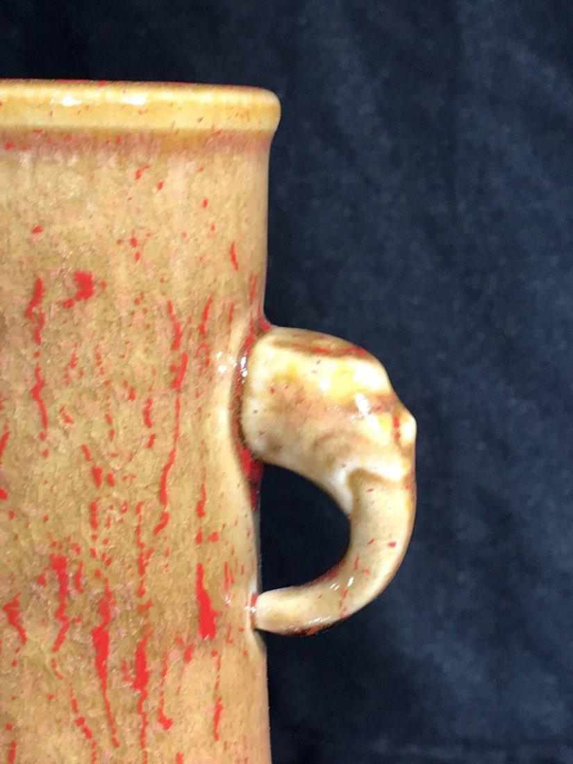 Chinese flambé porcelain vase with double handle - 3