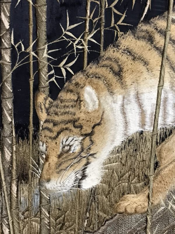 Japanese embroidery floor screen - tiger family  - 10