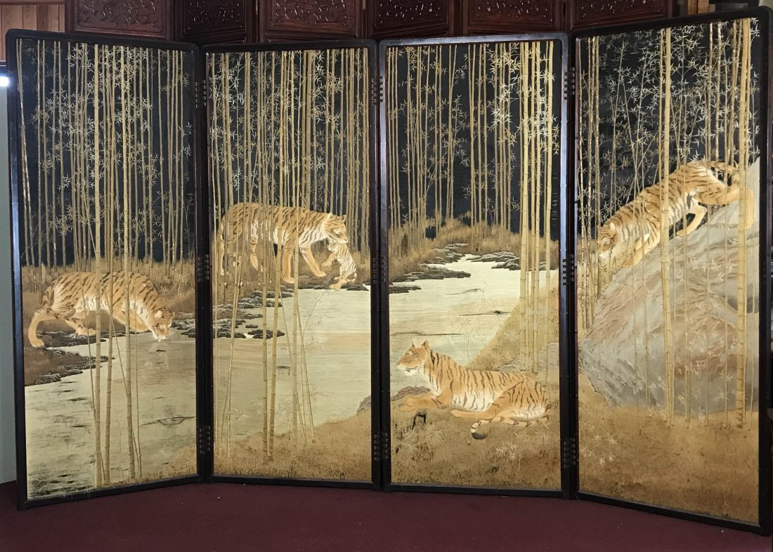 Japanese embroidery floor screen - tiger family
