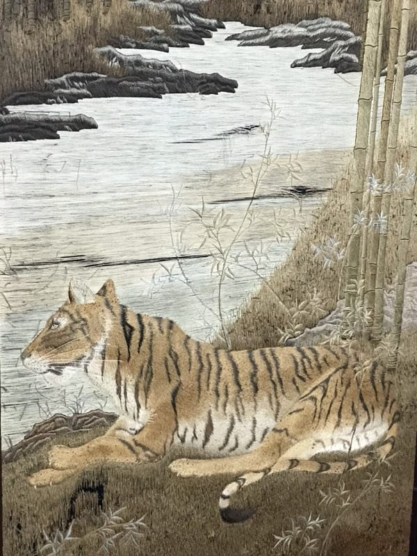 Japanese embroidery floor screen - tiger family  - 7