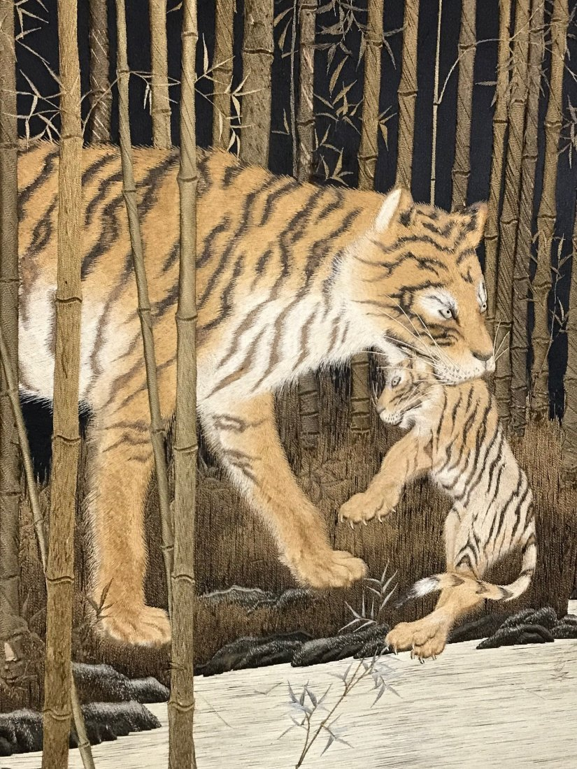 Japanese embroidery floor screen - tiger family  - 9
