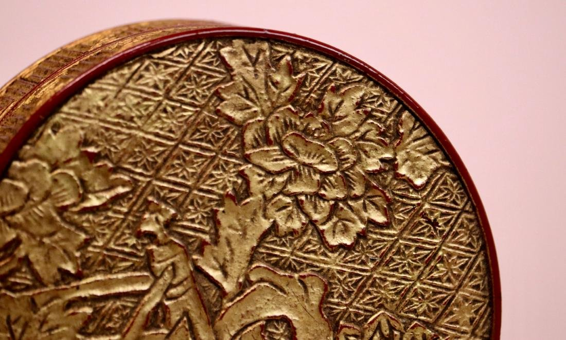 Chinese Lacquer Box with Gold Peony - 3