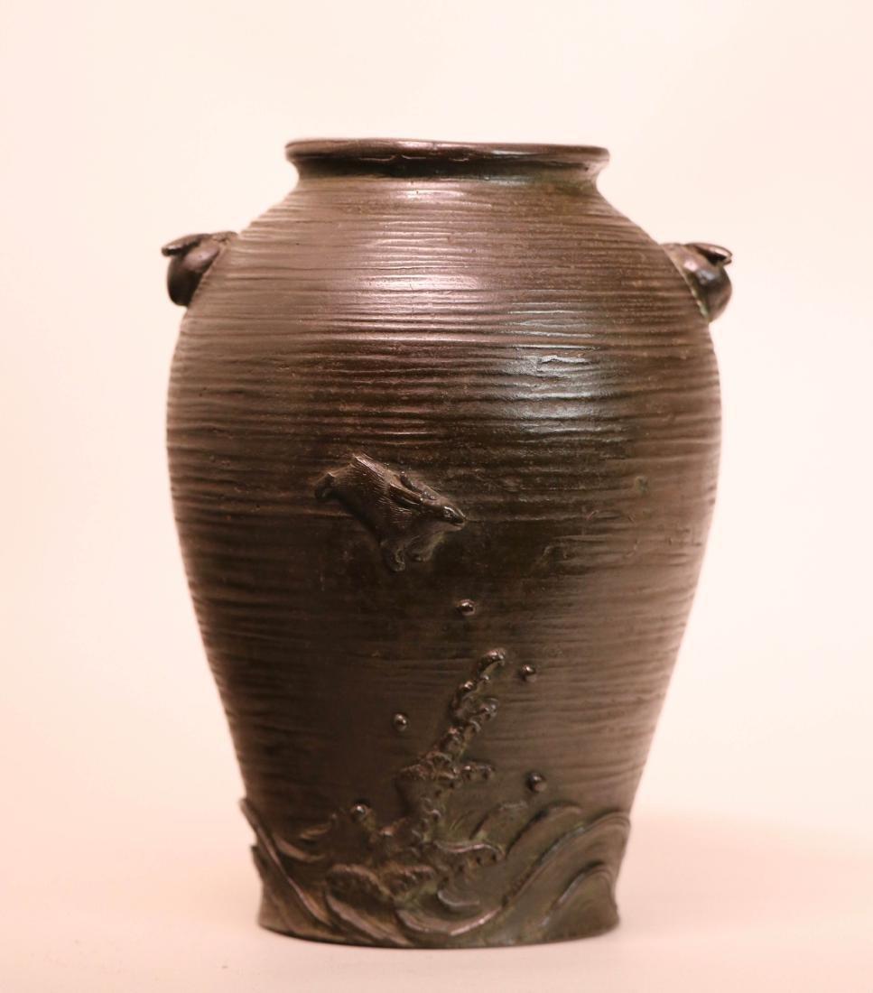Japanese Bronze Vase with Rabbits