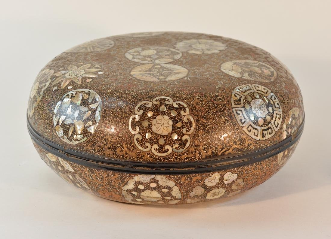 Large Chinese Round Lacquer Box with Mother of Pearl