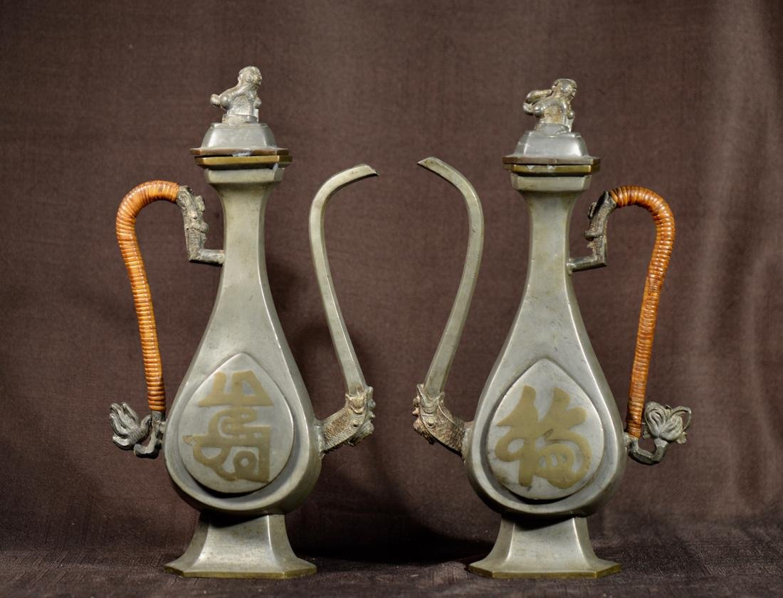 Pair Chinese Pewter Ewer