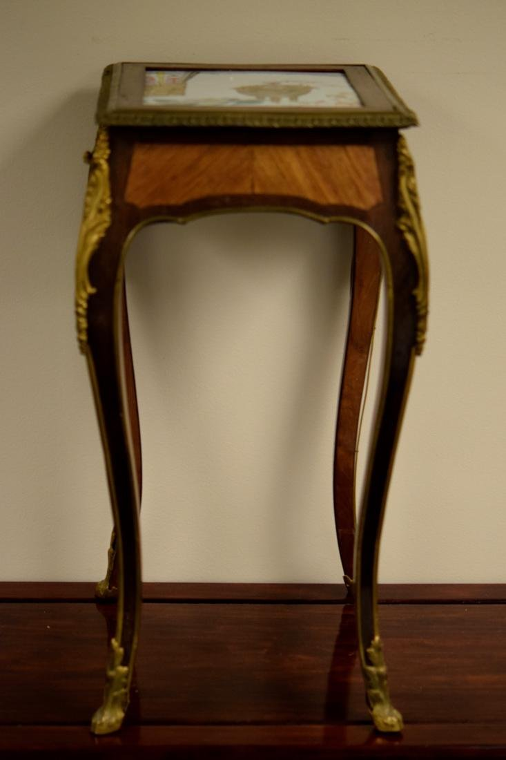 Chinese Porcelain Plaque on French Gilt Bronze Table