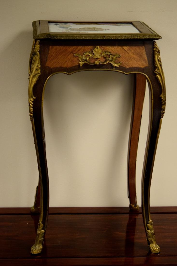 Chinese Porcelain Plaque on French Gilt Bronze Table - 3