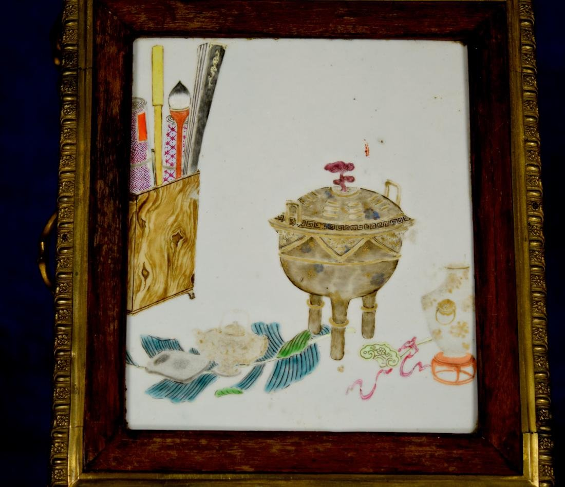 Chinese Porcelain Plaque on French Gilt Bronze Table - 4