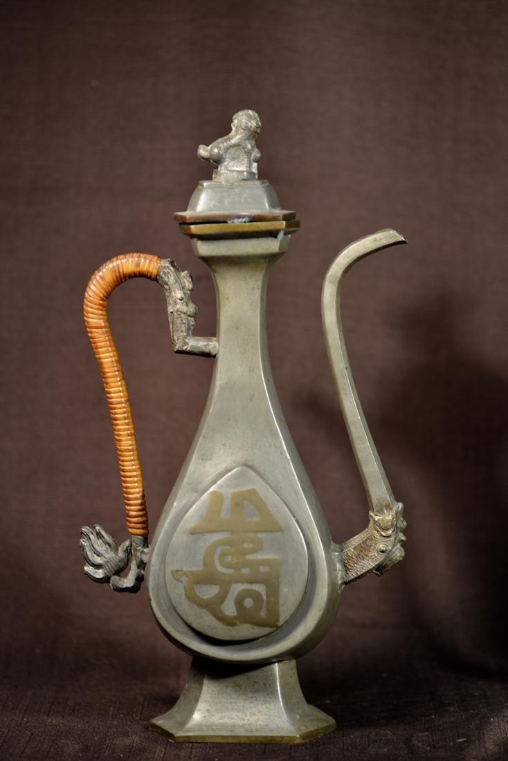 Pair Chinese Pewter Ewer - 4