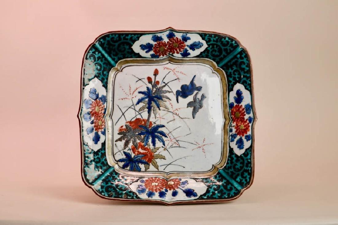 Japanese Ko Kutani Porcelain Square Tray