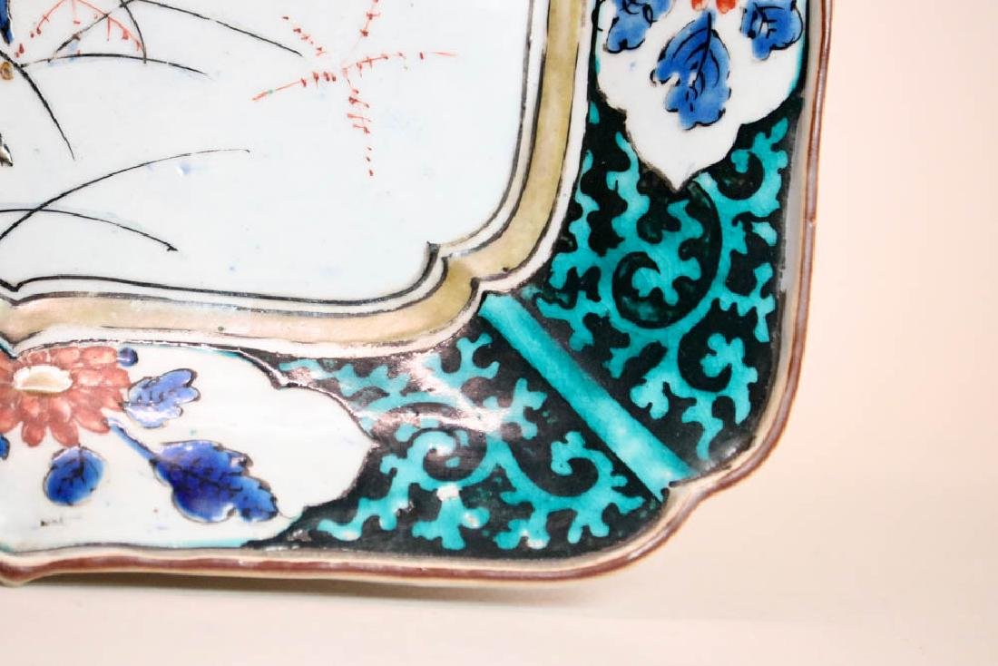 Japanese Ko Kutani Porcelain Square Tray - 5