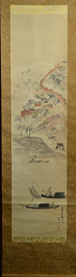 Japanese Water Color Scroll Painting - Boat Scene