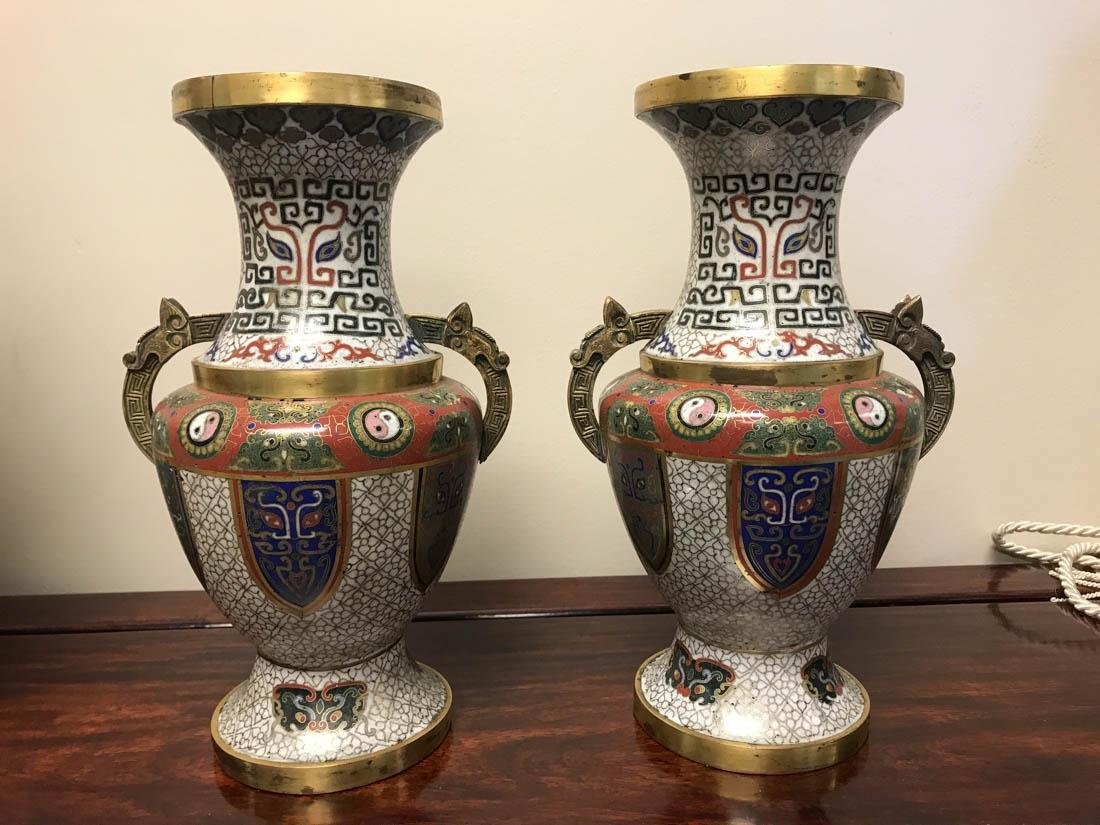 Pair Chinese Cloisonne Vase - Archaic Style