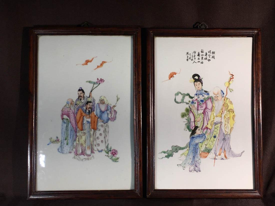 Pair Chinese Porcelain Tiles with Figurines